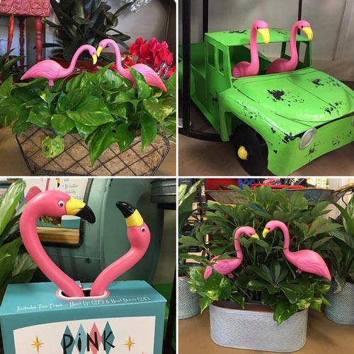 fun pink flamingo yard art