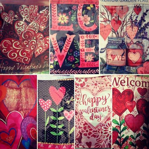 love hearts valentines garden flags