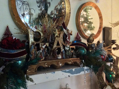 Holiday decor peace mantel