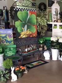Garden flags, bench, pottery, plants, St Patricks Day