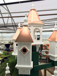 Copper topped birdhouses