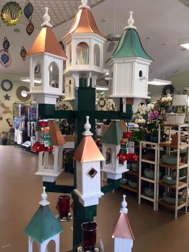 locally made bird houses and feeders and hummingbird feeders