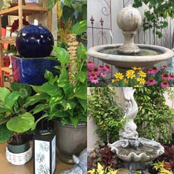 water fountains flowers plants garden art