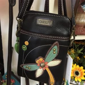 vegan purses with dragonflies and other creatures