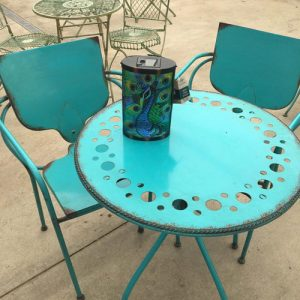 teal bisto set of table and two chairs