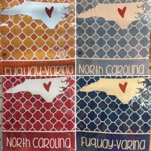 garden flags with NC state symbol and fuquay-varina