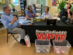 WPTF radio live remote with Nelsa, Anne Clapp, Mike Raley and Rufus Edmisten