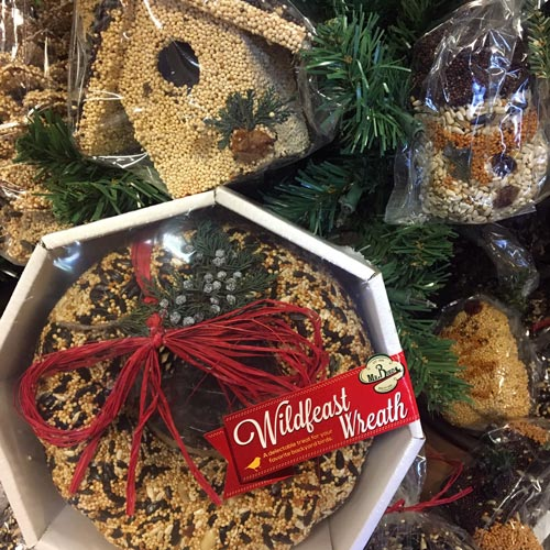 bird seed wreath and ornaments
