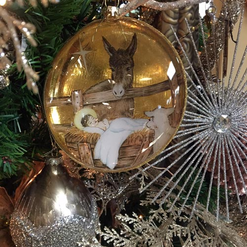 nativity and silver themed ornaments