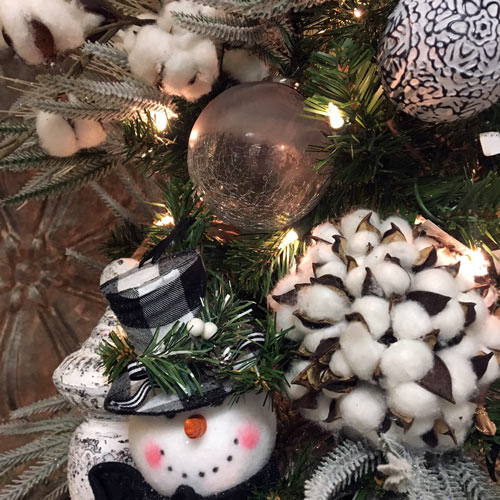 snowman and snow themed ornaments