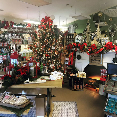 Christmas shop with holiday gifts and decor