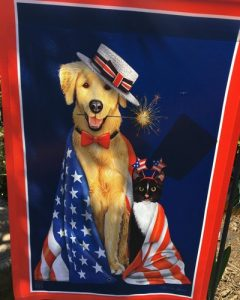 patriot garden flag with dog and cat