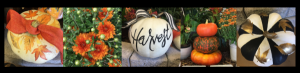 painted pumpkins fall decor mums