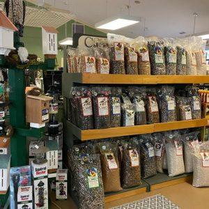 big selection of bird seed, bird houses, squirrel-proof feeders and hummingbird supplies